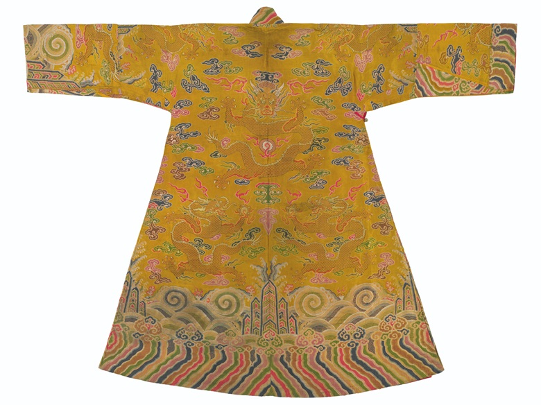 An imperial yellow satin brocade robe, chuba, 18th century. 53¼ in (135.2 cm) long x 68½ in (173.9 cm) wide. Sold for $22,500 on 17-18 March 2016 at Christie's New York