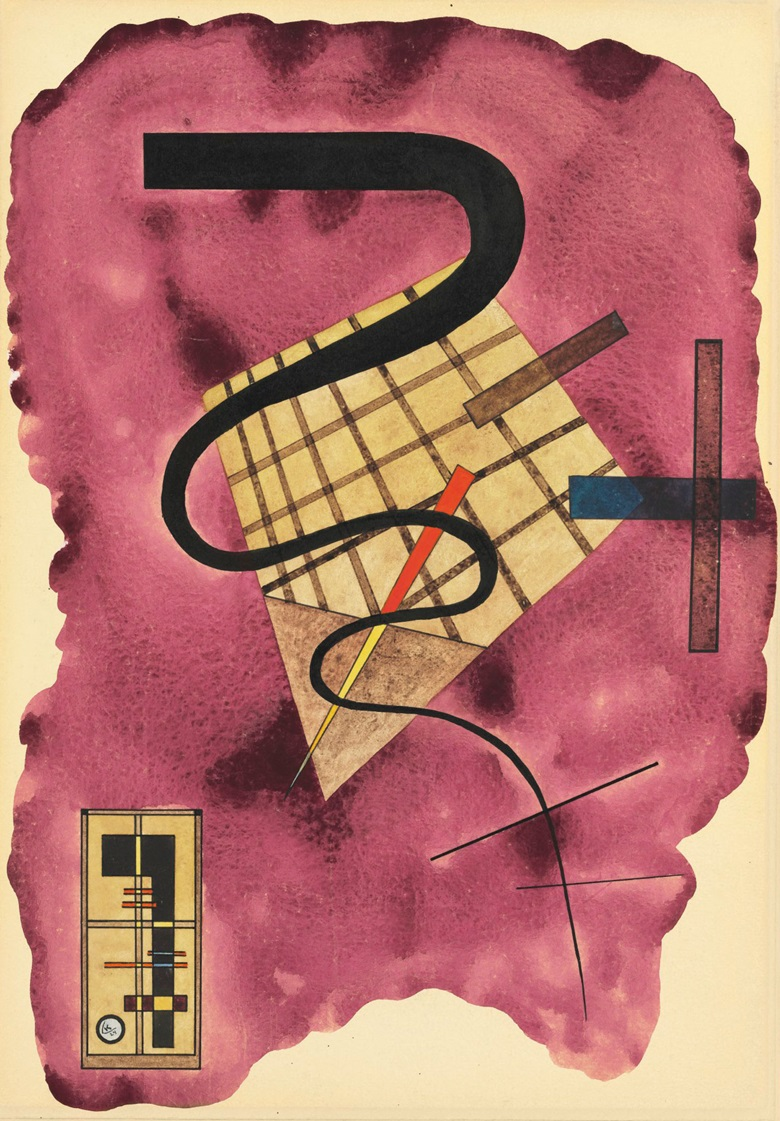 Wassily Kandinsky (1866-1944), Schwebende Linie, 1924. Gouache, watercolour and brush and pen and India ink on paper laid down by the artist on board. 19⅛ x 13¼ in (49 x 33.9 cm). This work was offered in Impressionist and Modern Art Works on Paper on 14 November 2017 at Christie's in New York and sold for $612,500