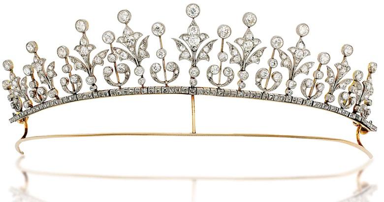 An early-20th-century diamond tiara  necklace. Composed of a graduated series of rose- and old-cut diamond millegrain-set foliate motifs alternately set between diamond collet accents raised on knifebar connections, with rose-cut diamond line below and similarly-set detachable backchain, mounted in platinum and gold, circa 1900. As a necklace 37 cm long, original case. Sold for £15,000 on 27