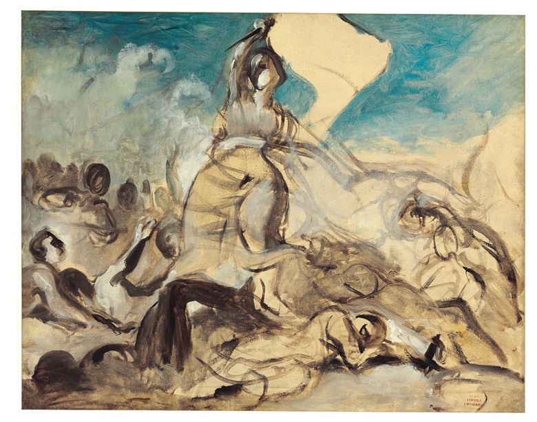 Eugène Delacroix (French, 1798-1863), Le 28 juillet — la liberté guidant le peuple, 1830. Oil on canvas. 25⅜ x 32 in (64.5 x 81.3 cm). Estimate £700,000-1,000,000. Sold for £3,128,750 in 19th Century European & Orientalist Art on 14 December at Christie's London