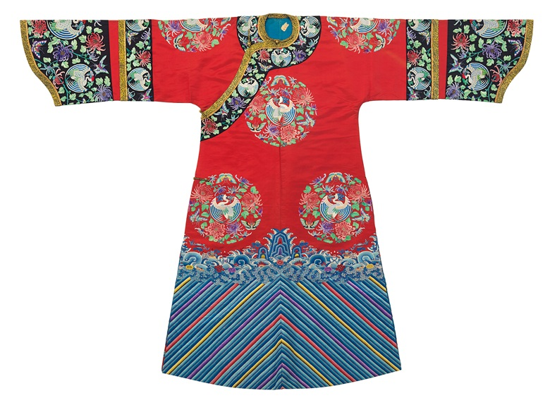 An embroidered red silk womans informal robe, Late Qing dynasty. 55 x 76½  in (139.7 x 194.3  cm). Sold for $7,500 on 22-23 March 2018  at Christie's in New York