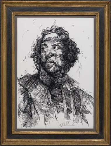 Glenn Brown, Drawing 16 (after Van DyckVan Dyck), 2017. Indian ink and acrylic on drafting film over panel in frame. 21 x 14¾ in (53.3 x 37.5 cm). © Glenn Brown. Courtesy of the artist and Gagosian. Photo Mike Bruce