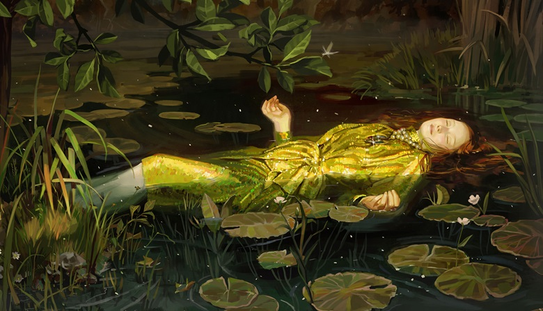 Gucci's SpringSummer 2018 campaign, inspired by Ophelia by John Everett Millais. Artwork by Ignasi Monreal