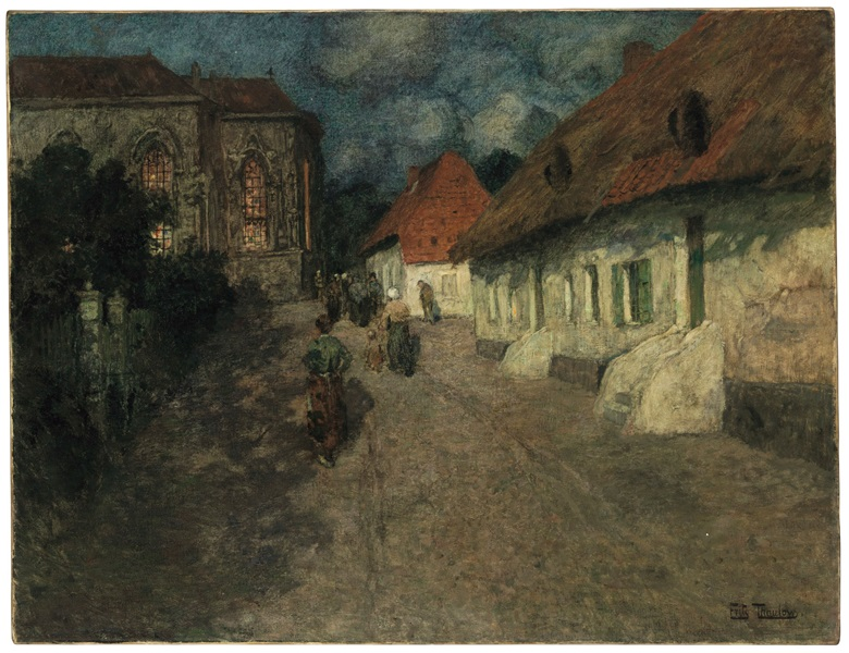 Frits Thaulow (Norwegian, 1847-1906), Midnight Mass. Oil on canvas. 35 3⁄8 × x 45¾ in (89.9 x 116.2 cm). Estimate $70,000-100,000. This work is offered in 19th Century European Art on 19 April at Christie's in New York