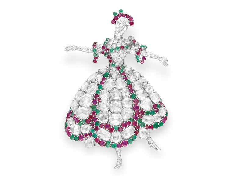 A diamond, ruby and emerald Ballerina brooch by Van Cleef & Arpels. Sold for $422,500 on 21 October 2009 at Christie's in New York