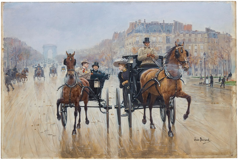 Jean Béraud (French, 1849-1936), Rond-Point des Champs-Élysées, painted circa 1880. 14¾ x 22⅛  in (37.4 x 56.2  cm). Estimate $500,000-700,000. This lot is offered in 19th Century European Art on 18 April 2018  at Christie's in New York