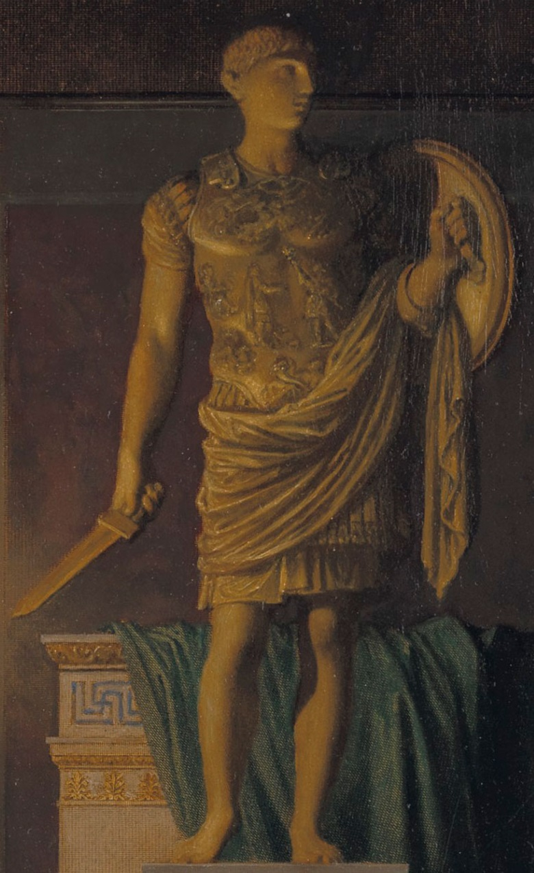 Th image of Marcellus does not appear in early versions of the scene. It is only in the final work that he is depicted wearing a Roman military cuirass