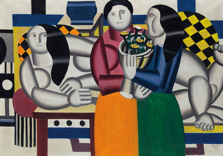 Fernand Léger (1881-1955), Les trois femmes au bouquet, 1922. Oil on canvas. 25 × 36 in (65.6 × 92.2 cm). Estimate $12,000,000-18,000,000. Offered in the Impressionist and Modern Art Evening Sale on 15 May at Christie's in New York © 2018 Fernand Léger  Artists Rights Society (ARS), New York  ADAGP. Paris