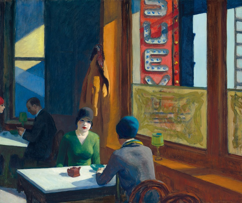 Edward Hopper (1882-1967), Chop Suey, painted in 1929. Oil on canvas. 32 x 38 in (81.3 x 96.5 cm). Sold for $91,875,000 on 13 November 2018 at Christie's in New York