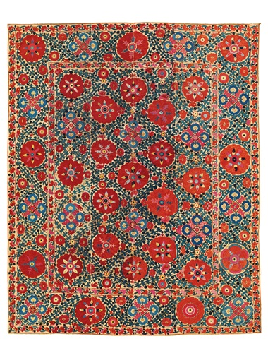 A suzani, probably Bukhara, Uzbekistan, 19th Century. 93 34 x 75 14in (238.4 x 191.2cm). Estimate £3,000-£5,000. Offered in the Art of the Islamic and Indian Worlds Including Oriental Rugs and Carpets 25 October 2018 at Christie's in London