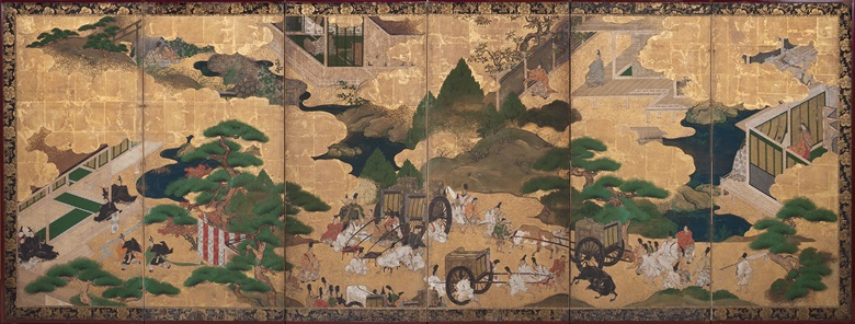 Anonymous (18th Century) Scenes from The Tale of Genji. Six-panel screen. Ink, colour, gold and gold leaf on paper, 37½ x 104¾ in (95.2 x 266.1 cm). Estimate $7,000-12,000. Offered in Edo to Post War 500 Years of Japanese Art and Design, 12 November to 19 November online