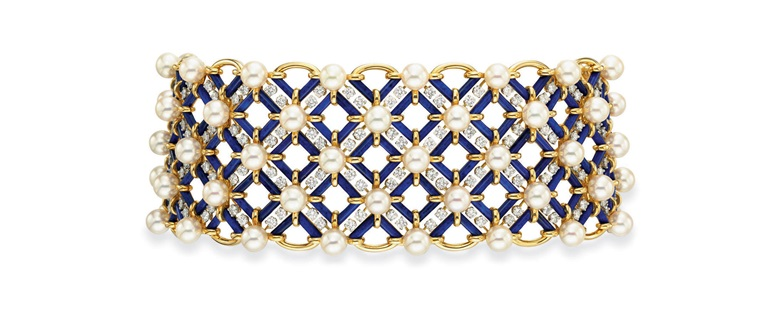 A diamond, cultured pearl, and lapis lazuli choker necklace, by Jean Schlumberger, Tiffany & Co. Sold for $110,500 on 20 October 2010 at Christie's in New York
