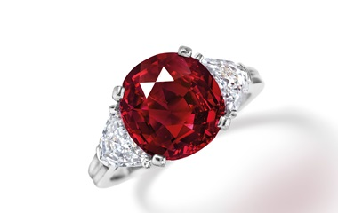 The Berlin ruby and diamond ring, by Tiffany & Co., was presented by Irving Berlin to his wife Ellin on their 40th wedding anniversary in 1966. Sold for $1,152,500 on 12 June 2018 at Christie's in New York