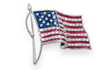 A diamond, ruby and sapphire American flag brooch, by Tiffany & Co. Sold for $20,000 in December 2009 at Christie's in New York
