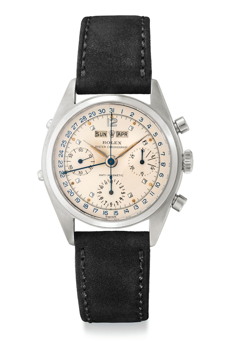 A very fine and rare stainless-steel triple calendar chronograph wristwatch. Signed Rolex, Oyster Chronograph, anti-magnetic, ref. 6036, circa 1963. Sold for $250,000 on 6 December 2018 at Christie's in New York