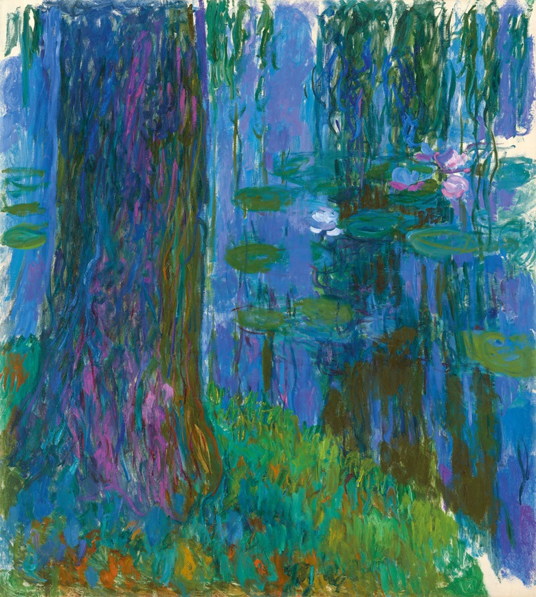 Claude Monet (1840-1926), Saule pleureur et bassin aux nymphéas, 1916-1919. Oil on canvas. 78¼ x 70¾ in (200 x 180 cm). Estimate on request. Offered in Hidden Treasures on 27 February 2019 at Christie's in London