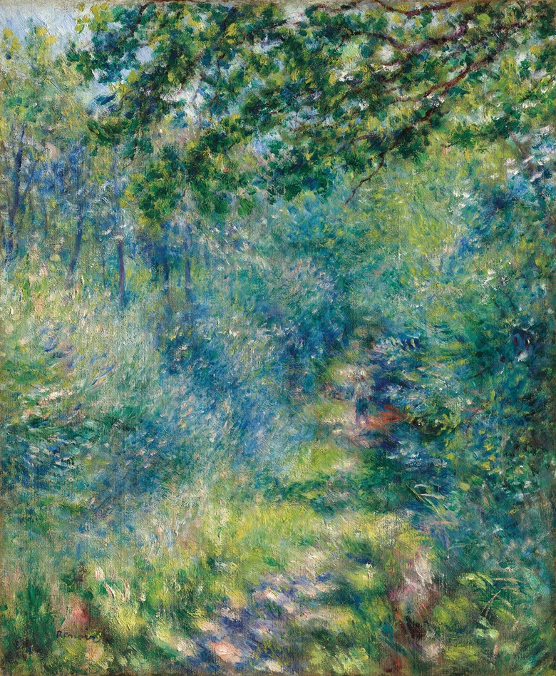 Pierre-Auguste Renoir (1841-1919), Sentier dans le bois, 1874-77. Oil on canvas, 25¾ x 21¼ in (65.5 x 54 cm). Estimate £7,500,000-10,500,000. Offered in Hidden Treasures on 27 February 2019 at Christie's in London