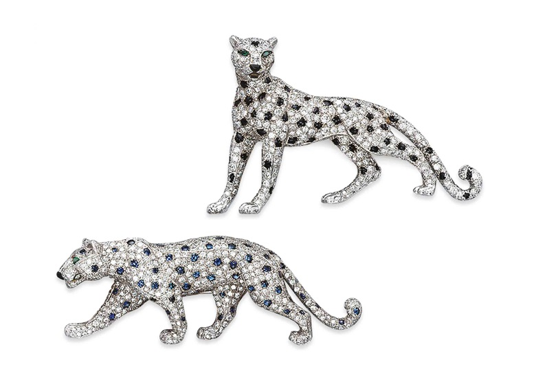 Two gem-set and diamond panther brooches, by Cartier. Sold for CHF 123,000 on 18 May 2011 at Christie's in Geneva