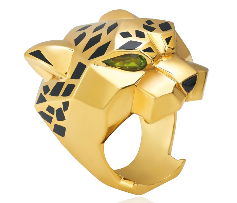 A gold, enamel and peridot Panthère ring, by Cartier. Sold for CHF 11,875 on 16 May 2018 at Christie's in Geneva