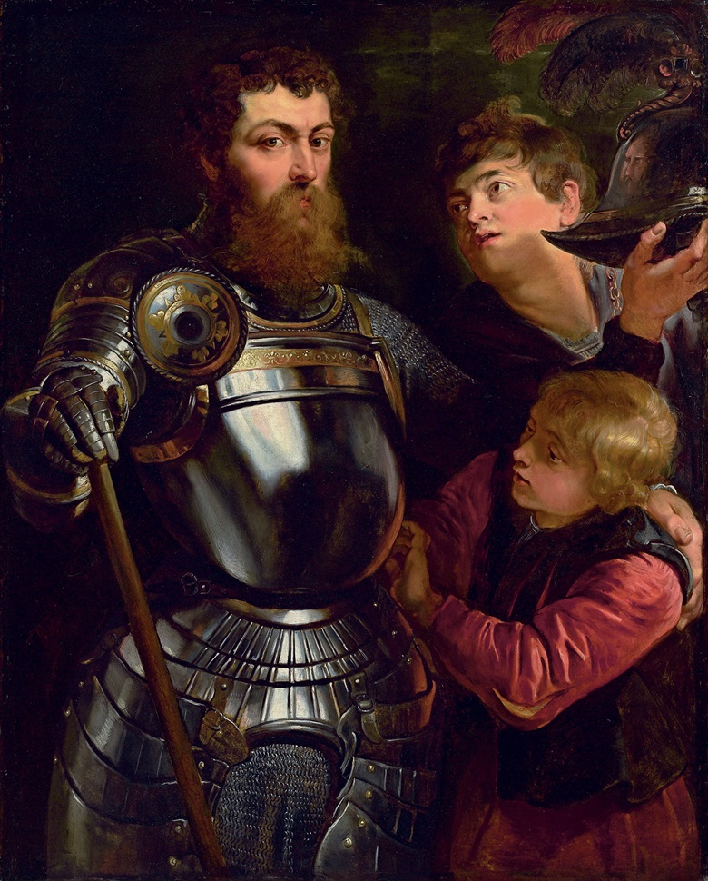 Rubens' portrait, A Commander Being Armed for Battle (1613). Hill purchased the painting in 2010 for just over $9 million — then had a suspect area of paint around the face of one page peeled away