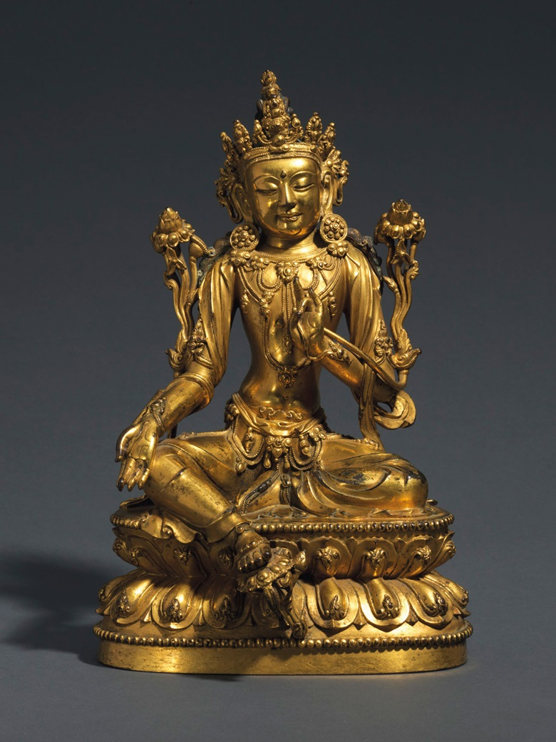 A rare and finely-cast gilt-bronze seated figure of Avalokiteshvara, Xuande six-character incised mark and of the period (1426-1435). 10¼  in (26  cm) high. Sold for £1,928,750 on 6 November 2018 at Christie's in London