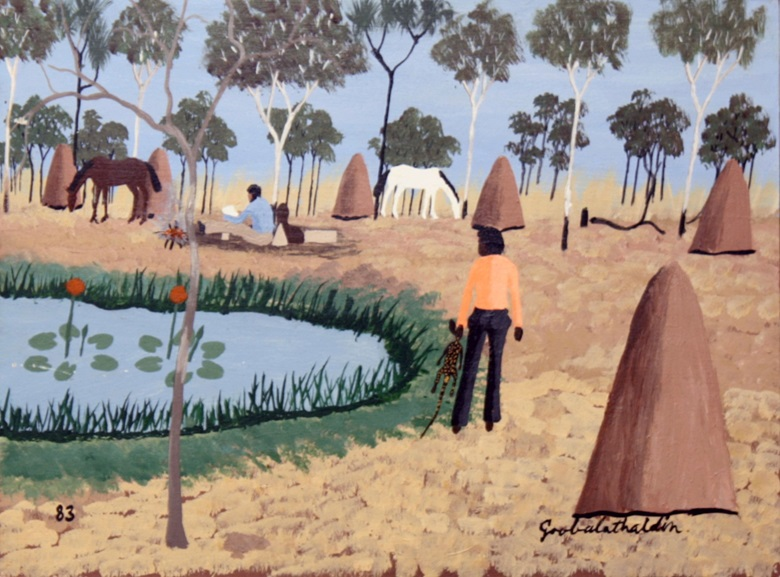 Goobalathaldin Dick Roughsey, Kennedy and Jackey Jackey Midday Rest, 1983. Acrylic on canvas, Cairns Art Gallery Collection