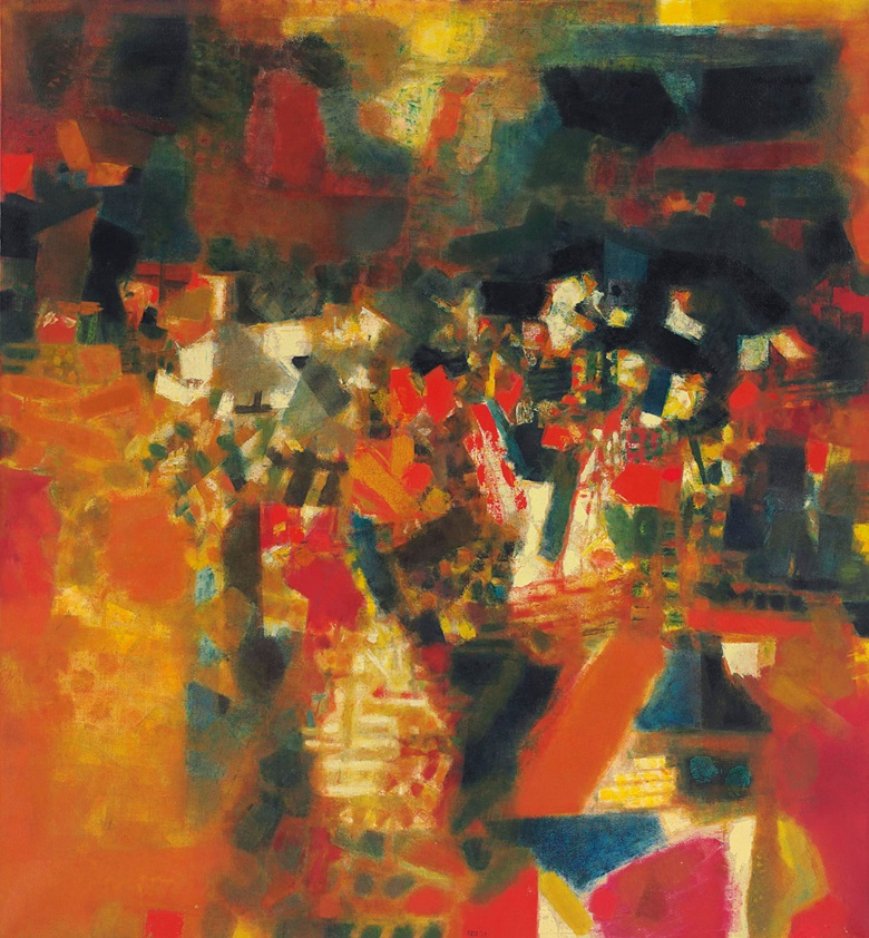 Sayed Haider Raza (1922-2016), Village en Fête, 1964. Oil on canvas. 81⅝ x 74⅞  in (207.3 x 190.2  cm). Sold for $1,859,750 on 20 March 2013 at Christie's in New York