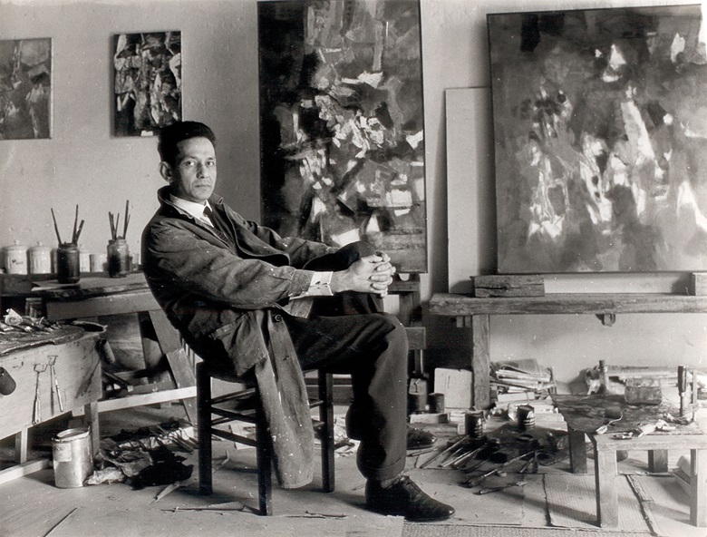 Sayed Haider Raza in his studio in Paris in the 1960s. Image courtesy The Raza Foundation