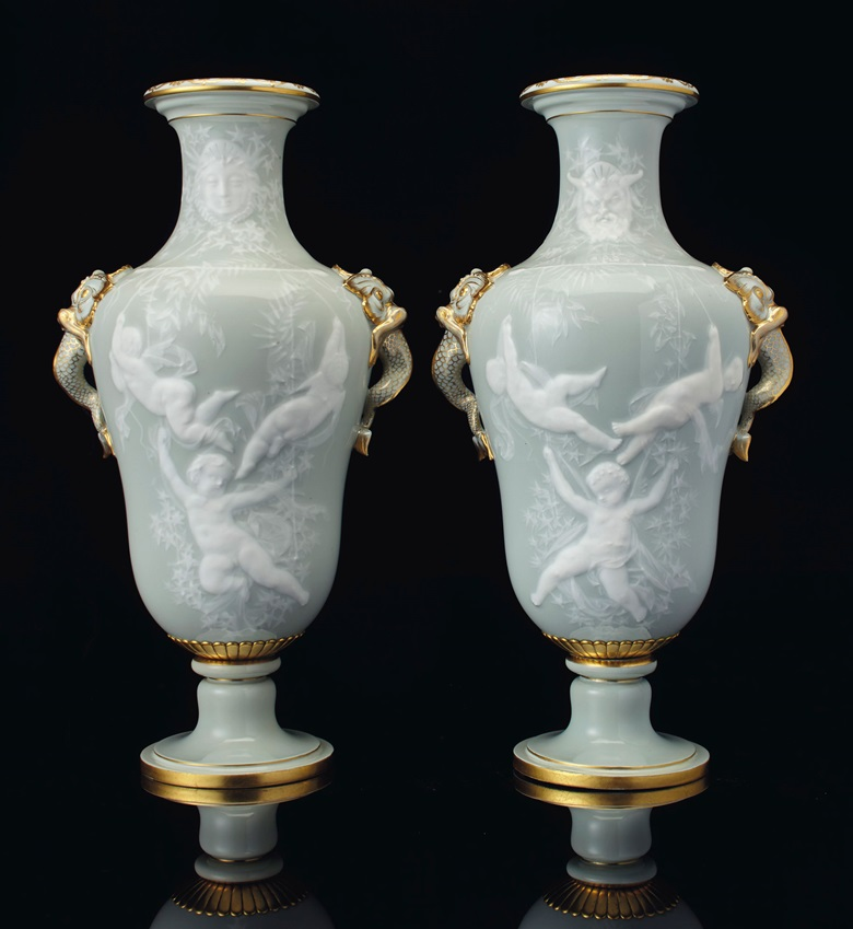 A pair of Sèvres porcelain pâte-sur-pâte vases, circa 1857. Estimate $15,000-20,000. Offered in The Collector English & European 18th & 19th Century Furniture, Ceramics, Silver & Works of Art on 9 April 2019 at Christie's, New York