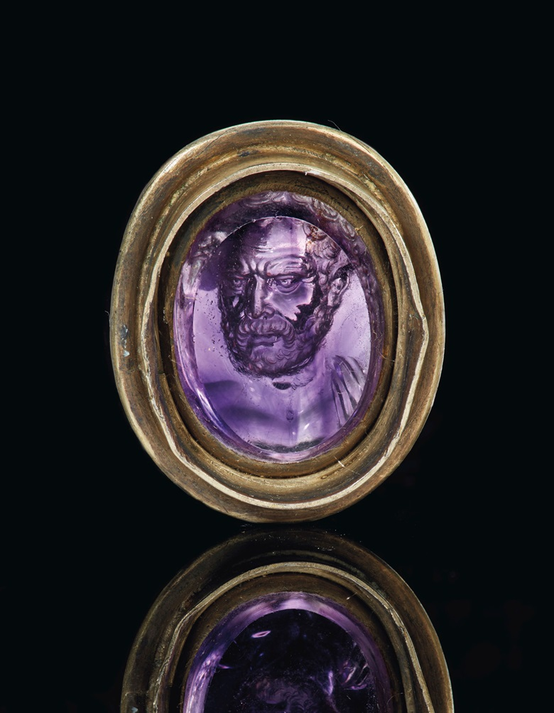 A Roman amethyst ringstone with a portrait of Demosthenes, signed by Dioskourides, circa late 1st century BC. ¾  in (1.9  cm) long. Sold for $1,575,000 on 29 April 2019 at Christie's in New York