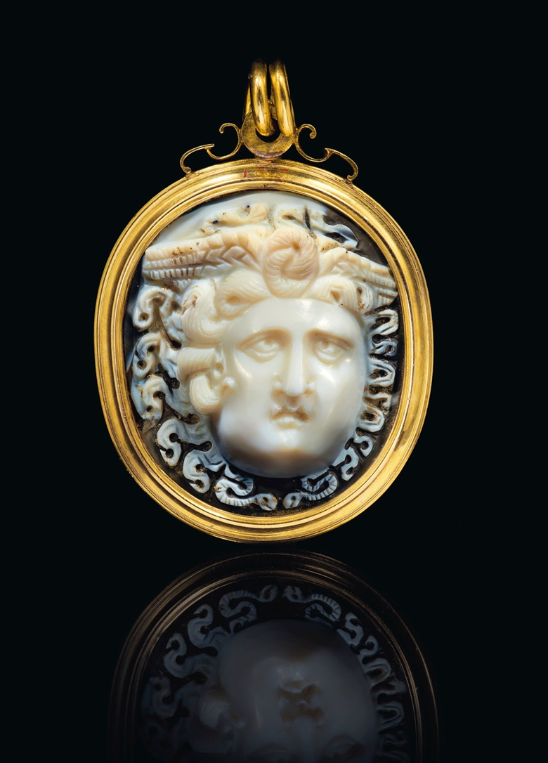 A Roman sardonyx cameo of Medusa, circa 1st century AD. Cameo 1⅝  in (4  cm) long; Mount 2⅜  in (6  cm) long. Sold for $181,250 on 29 April 2019 at Christie's in New York
