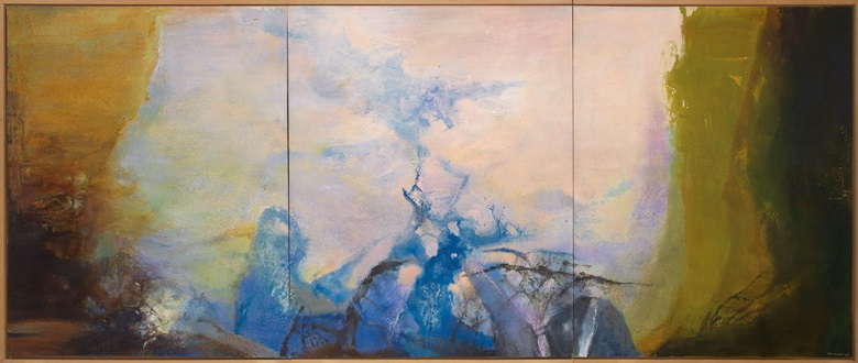 Zao Wou-Ki, Triptyque1987-1988, painted in 1987-88. Oil on canvas (triptych). Overall 200 x 486 cm (78¾ x 191⅜ in). Sold for HK$178,000,000 on 25 May 2019 at Christie's in Hong Kong