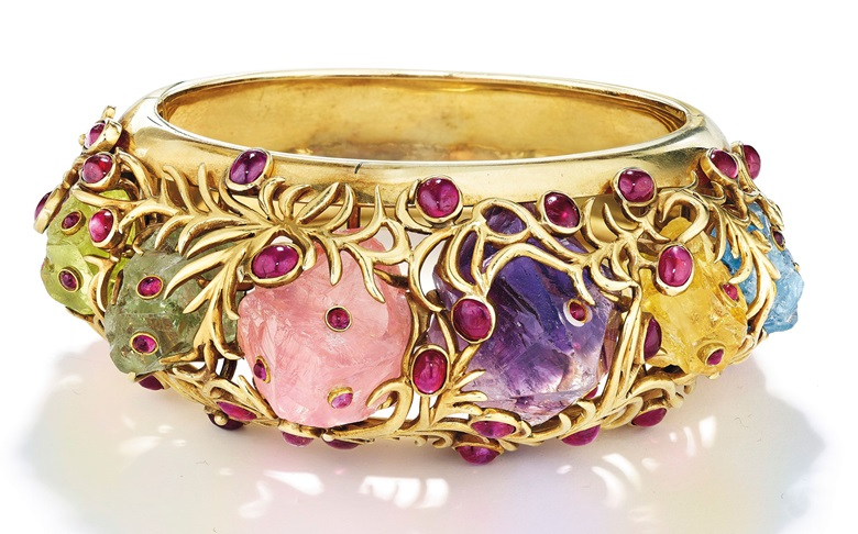 A multi-gem and gold bracelet by Jean Schlumberger. Estimate $30,000-50,000. Offered in Magnificent Jewels on 16 April at Christie's in New York