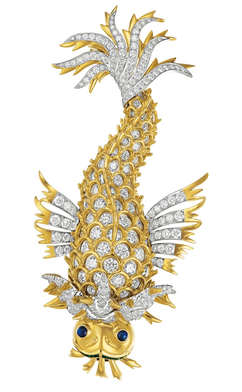 A diamond, sapphire, emerald and gold 'Dolphin' brooch by Jean Schlumberger, Tiffany & Co. Estimate $50,000-70,000. Offered in Elegance A Collection from the Estate of Jean Tailer, part of Magnificent Jewels on 16 April at Christie's in New York
