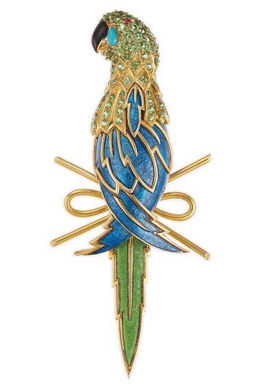 An enamel and multi-gem parrot brooch by Jean Schlumberger, Tiffany & Co. Estimate $12,000-15,000. Offered in Elegance A Collection from the Estate of Jean Tailer, part of Magnificent Jewels on 16 April at Christie's in New York