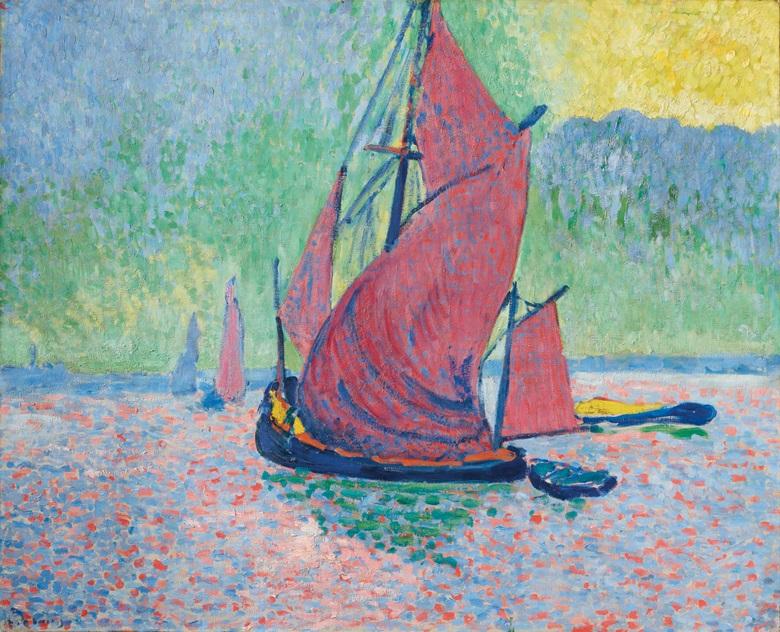 André Derain (1880-1954), Les voiles rouges, 1906. 30 x 39½  in (81.3 x 100.2  cm). Sold for $6,858,000 on 13 May 2019 at Christie's in New York