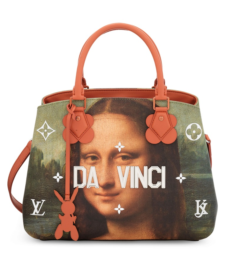 A limited edition Da Vinci leather Masters Montaigne with silver & copper hardware by Jeff Koons, Louis Vuitton, 2018. 33 w x 23 h x 15 d cm. Sold for £2,500 on 11 June 2019 at Christie's in London