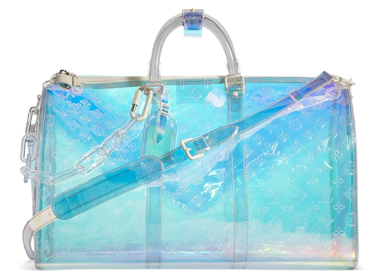 A monogram PVC Prism Bandouliere Keepall 50 with lucite hardware by Virgil Abloh, Louis Vuitton, 2019. 50 w x 29 h x 23 d cm. Estimate $3,000-5,000. Offered in Handbags & Accessories, 28 May to 14 June 2019, Online