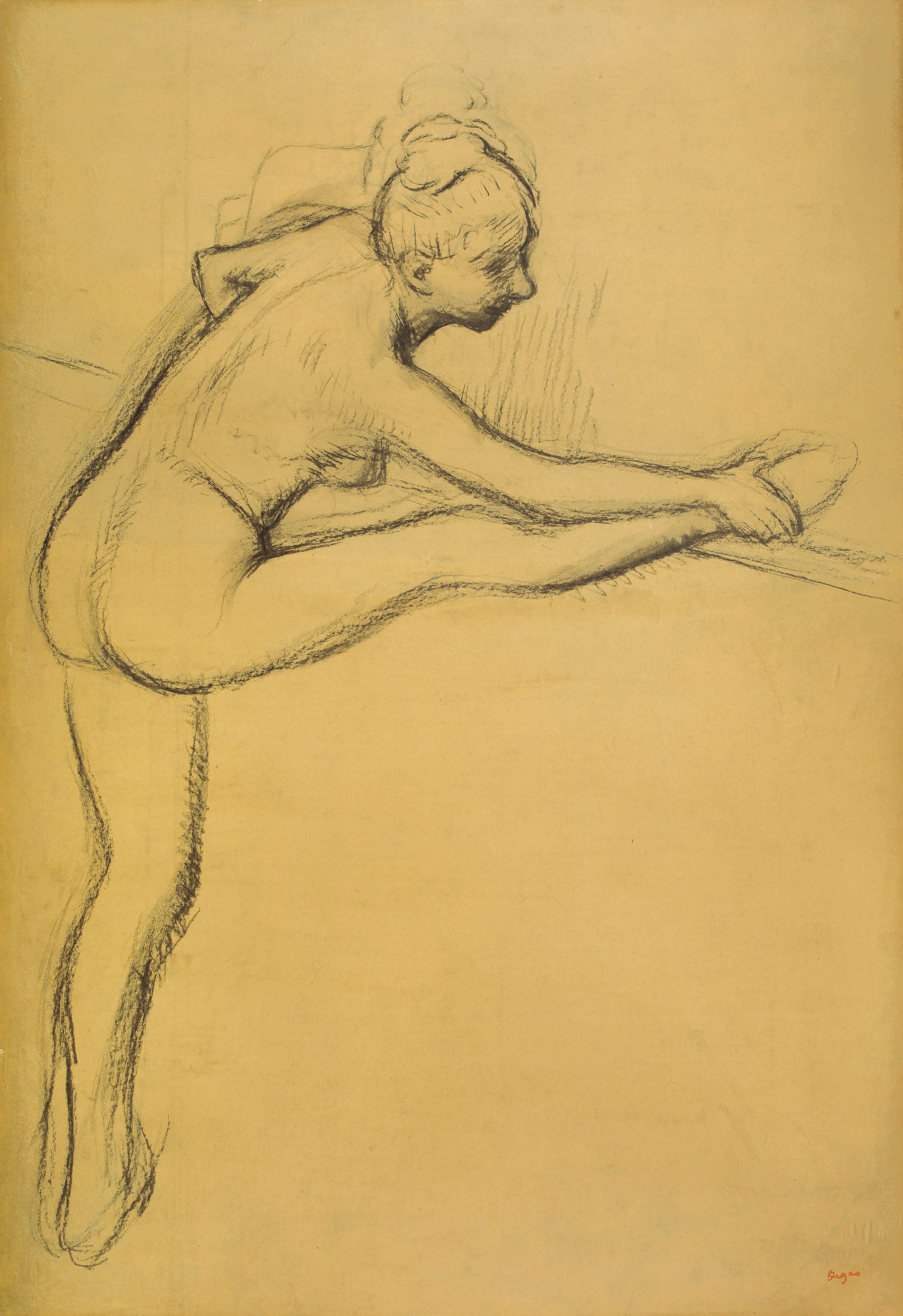Edgar Degas (1834–1917), Étude de nu (danseuse à la barre). Estimate $400,000–600,000. This work is offered in the Impressionist & Modern Art Works on Paper sale on 14 May at Christie's in New York.The Collection of Drue Heinz.
