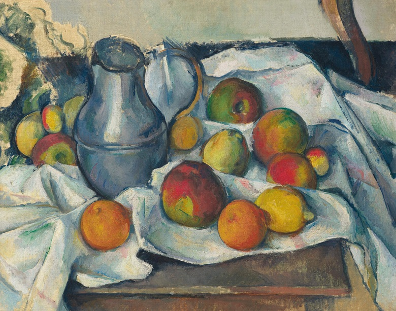 Paul Cezanne (1839-1906), Bouilloire et fruits, 1888-1890. Oil on canvas. 18⅜ x 23 in. Sold for $59,295,000 in the Impressionist and Modern Art Evening Sale on 13 May at Christie's in New York