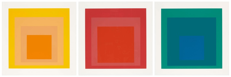 Josef Albers (1888-1976). SP three plates, 1967. Three screenprints in colors, on Schöllers Hammer Board. Each Sheet 24⅛ x 24⅛ in. Estimate $6,000-8,000. Offered in Contemporary Edition, 9-16 July 2019, Online, 9-16 July 2019, Online