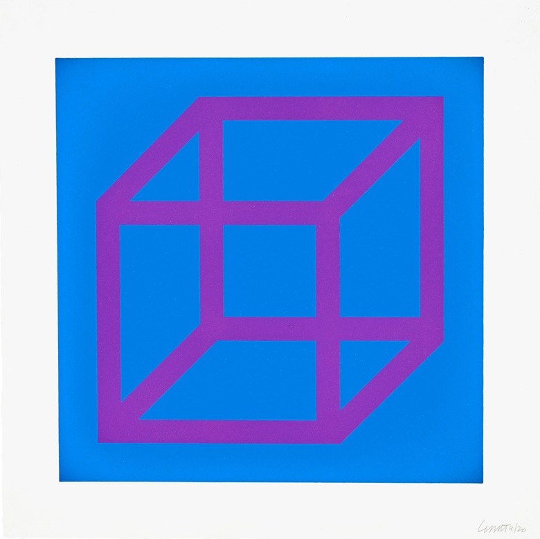 Sol Lewitt (1928-2007). Open Cube in Color on Color three plates, 2003.  three linocuts in colors, on Somerset Satin White paper. Sheet 14 x 14 in. Estimate $4,000-6,000. Offered in Contemporary Edition, 9-16 July 2019, Online, 9-16 July 2019, Online