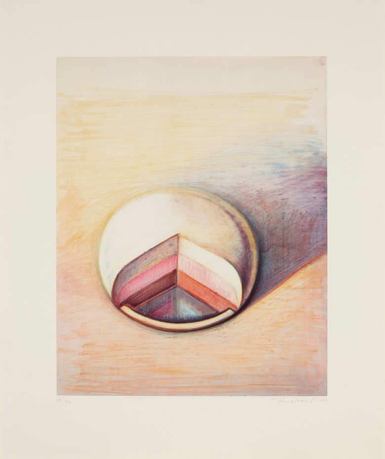 Wayne Thiebaud (B. 1920). Neapolitan Pie, 1991. Lithograph in colors, on wove paper. Sheet 32.14 x 27 in. Estimate $10,000-15,000. Offered in Contemporary Edition, 9-16 July 2019, Online, 9-16 July 2019, Online