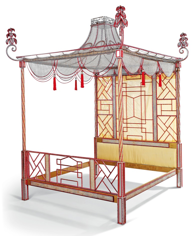 An Italian red and clear beaded pagoda bed, 20th century. 92½ in (235 cm) high; 86½ in (220 cm) wide; 118 in (300 cm) deep. Sold for £21,250 on 11 September 2019 at Christie's in London