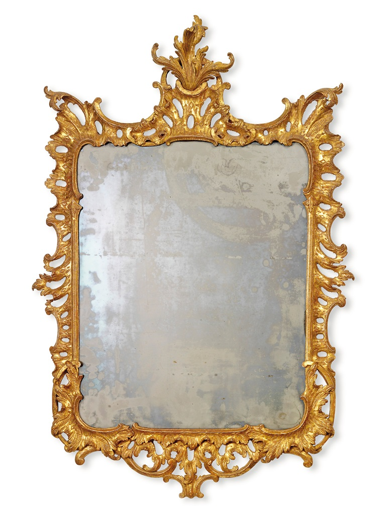 A George II giltwood mirror, circa 1740. 42½ x 29½ in (108 x 75 cm). Sold for £3,125 on 11 September 2019 at Christie's in London