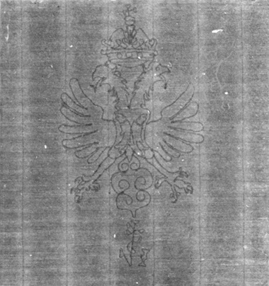 An example of a double-headed eagle watermark on one of Rembrandt's prints from 1631-34