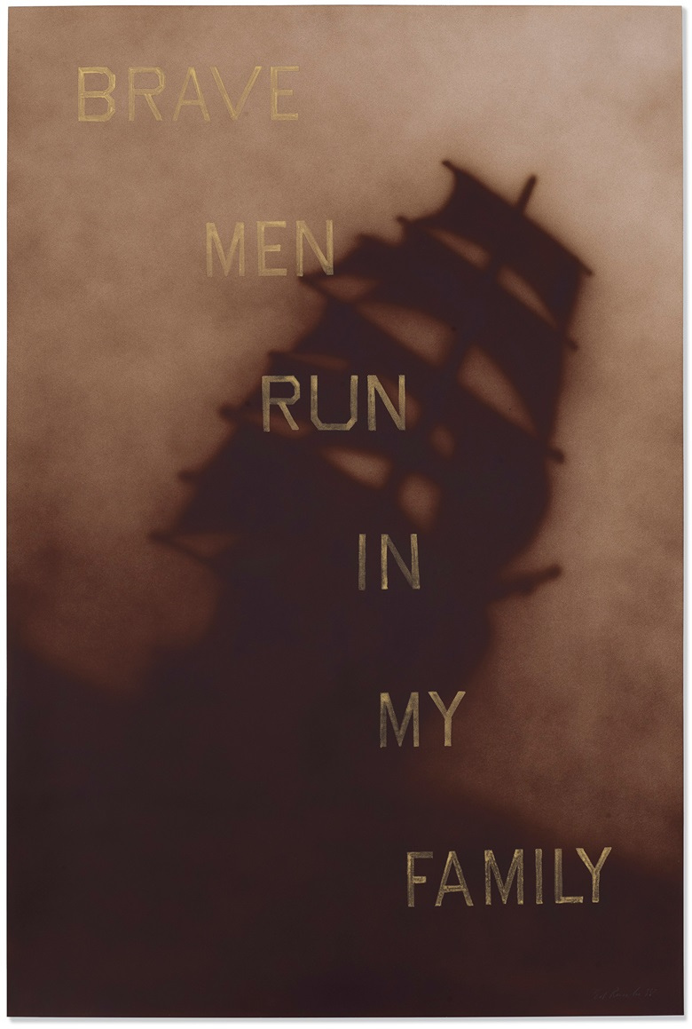 Ed Ruscha, Brave Men Run in My Family, 1988. Dry pigment, acrylic and graphite on paperboard. 60 x 40⅛ in (152.4 x 101.9 cm). Estimate $600,000-800,000. Offered in the Post-War and Contemporary Art Afternoon Session on 14 November 2019 at Christie's New York
