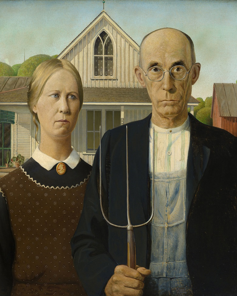 Grant Wood (1891-1942), American Gothic, 1930. Oil on Beaver Board. The Art Institute of Chicago, IL, USAFriends of American Art CollectionBridgeman Images