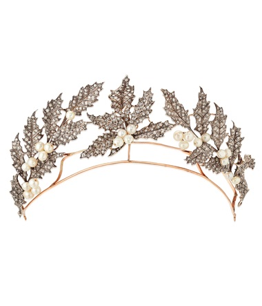 Late 19th-century pearl and diamond 'Holly Wreath' tiara. Old and rose-cut diamonds, round and bouton shaped pearls, silver and gold, detachable for wear as three spray brooches with three fittings, circa 1895. Estimate £30,000-40,000. Offered in Important Jewels on 27 November 2019 at Christie's in London