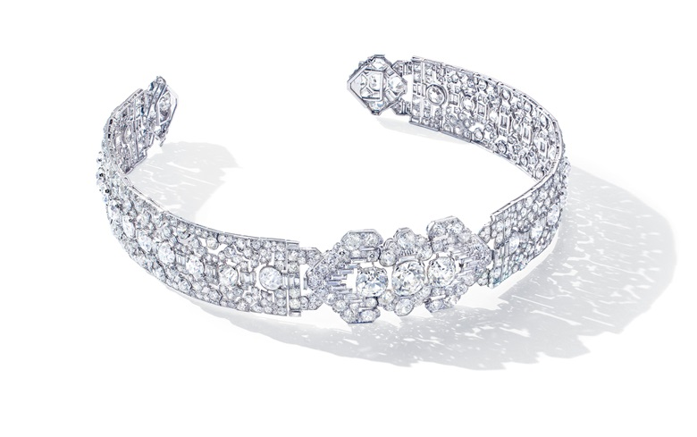 A superb Art Deco diamond bandeau, Cartier, cushion, old and baguette-cut diamonds, platinum (French marks), detachable for wear as a choker, as two bracelets or as a brooch, circa 1920. Bandeau 40.5 cm, choker 34.0 cm, bracelets 17.8 cm, brooch 6.0 cm, brooch signed Cartier made in France, brooch and bracelets nos. 7071c.  Estimate CHF 300,000-500,000. Offered in Magnificent Jewels  on 12